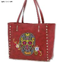 Sugar Skull Tote Bags - Sugar Skull Patch Large Soft Tote Purses And Bags