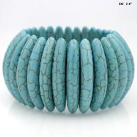 710147-TURQ - WHOLESALE WESTERN TURQUOISE STRETCH BRACELETS