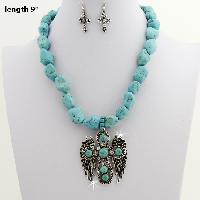 73044-(2PC-SET) - WHOLESALE WESTERN TURQ STONE NECKLACE SET