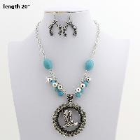 73069-(2PC-SET) - WHOLESALE WESTERN TURQ STONE NECKLACE SET