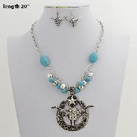 73070-(2PC-SET) - WHOLESALE WESTERN TURQ STONE NECKLACE SET