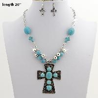 73091-(2PC-SET) - WHOLESALE WESTERN TURQ STONE NECKLACE SET