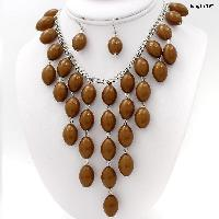 730207-BROWN - WHOLESALE WESTERN TURQ STONE NECKLACE SET