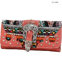 ANB-030-CORAL - WHOLESALE WOMENS WESTERN BUCKLE WALLET