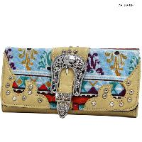 ANB-030-NATURAL - WHOLESALE WOMENS WESTERN BUCKLE WALLET