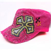CAD-NEW-SEQ-CR-PINK - WHOLESALE RHINESTONE CROSS CADET STYLE CAPS