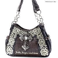 CP-869-BLACK - WHOLESALE WESTERN CROSS BIBLE VERSE PURSES