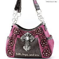 CP-869-PINK - WHOLESALE WESTERN CROSS BIBLE VERSE PURSES