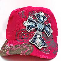 CAD-NEW-B6-PINK - WHOLESALE RHINESTONE CROSS CADET STYLE CAPS