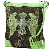 FML22-4699-LIME - RHINESTONE CROSS & WINGSCAMOUFLAGE HANDBAGS