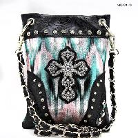 CROSS-CP67-G064-GRN/BLK - WHOLESALE RHINESTONE CRYSTAL CELLPHONE CASES/POUCHES