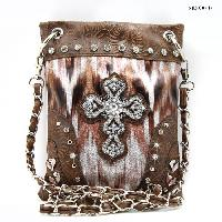 CROSS-CP67-G064-PK/BRO - WHOLESALE RHINESTONE CRYSTAL CELLPHONE CASES/POUCHES