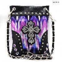 CROSS-CP67-G064-PUR/BLK - WHOLESALE RHINESTONE CRYSTAL CELLPHONE CASES/POUCHES
