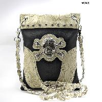 GSK-76-W63-BLACK-BG - WHOLESALE RHINESTONE CROSS HIPSTER CROSS BODY PHONE PURSE