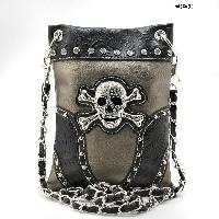 GSK-76-W63-PEWTER - WHOLESALE RHINESTONE CROSS HIPSTER CROSS BODY PHONE PURSE