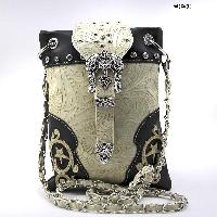BKLE-76-W63-BLK-BEIGE - WHOLESALE RHINESTONE CROSS HIPSTER CROSS BODY PHONE PURSE