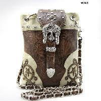 BKLE-76-W63-BEIGE-BRO - WHOLESALE RHINESTONE CROSS HIPSTER CROSS BODY PHONE PURSE