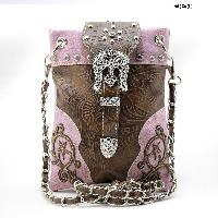BKLE-76-W63-PEWTER - WHOLESALE RHINESTONE CROSS HIPSTER CROSS BODY PHONE PURSE