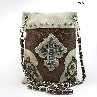LCR-76-W63-BIEGE-BRO - WHOLESALE RHINESTONE CROSS HIPSTER CROSS BODY PHONE PURSE