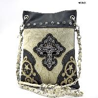 LCR-76-W63-BLK-BIEGE - WHOLESALE RHINESTONE CROSS HIPSTER CROSS BODY PHONE PURSE