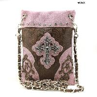 LCR-76-W63-PINK - WHOLESALE RHINESTONE CROSS HIPSTER CROSS BODY PHONE PURSE