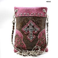 LCR-76-W63-PURPLE - WHOLESALE RHINESTONE CROSS HIPSTER CROSS BODY PHONE PURSE