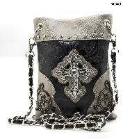 LCR-76-W63-PEWTER - WHOLESALE RHINESTONE CROSS HIPSTER CROSS BODY PHONE PURSE