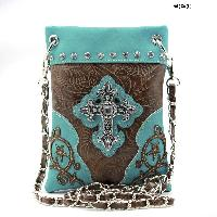 LCR-76-W63-TURQ - WHOLESALE RHINESTONE CROSS HIPSTER CROSS BODY PHONE PURSE