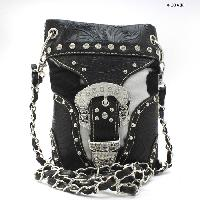 BKLE-W9-76-COW-BLK-WT - WHOLESALE RHINESTONE CRYSTAL CELLPHONE CASES/POUCHES