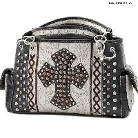 HHC-893-PEWTER - WHOLESALE WESTERN HAIR ON HIDE CROSS PURSES