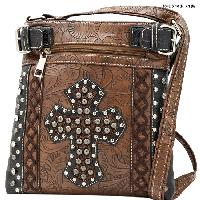 HHC-938-BROWN - WESTERN RHINESTONE STUDDED MESSENGER HANDBAGS