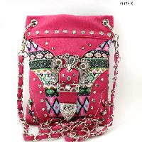 BKLE-1211-2030-HTPK - WHOLESALE RHINESTONE CRYSTAL CELLPHONE CASES/POUCHES