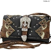 2066-W28-BLK/CREAM - WHOLESALE WESTERN WALLETS HIPSTER CROSS BODY STYLE