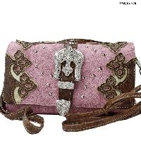 2066-W28-PINK - WHOLESALE WESTERN WALLETS HIPSTER CROSS BODY STYLE