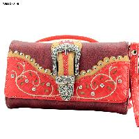 BKLE-2066-W91-RED - BKLE-2066-W91-RED WHOLESALE WESTERN WALLETS HIPSTER CROSS BODY STYLE