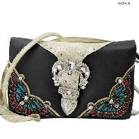 2068-BUTTERFLY-BLACK - WHOLESALE FLAT WALLETS/OPERA STYLE METAL FRAME
