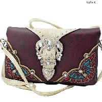 2068-BUTTERFLY-PURPLE - WHOLESALE FLAT WALLETS/OPERA STYLE METAL FRAME