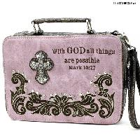 PRY-221-PINK - WHOLESALE BIBLE COVERS/ RHIENSTONE CROSS BIBE CASES