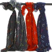 Anchor Print Scarves - Achor Print Popular Infinity Style Assorted Scarves