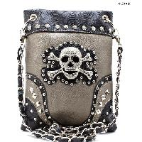 SKULL-2030-PEWTER - WHOLESALE RHINESTONE CRYSTAL CELLPHONE CASES/POUCHES
