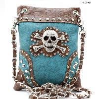 SKULL-2030-TURQ - WHOLESALE RHINESTONE CRYSTAL CELLPHONE CASES/POUCHES