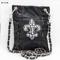 2030-NSQ-FLEUR-BLACK - WHOLESALE RHINESTONE CRYSTAL CELLPHONE CASES/POUCHES