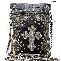 W28-2030-BLACK - WHOLESALE RHINESTONE CRYSTAL CELLPHONE CASES/POUCHES
