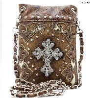 W28-2030-BROWN - WHOLESALE RHINESTONE CRYSTAL CELLPHONE CASES/POUCHES