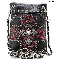 W77-2030-BLACK-HTPK - WHOLESALE RHINESTONE CRYSTAL CELLPHONE CASES/POUCHES