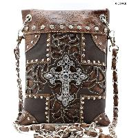 W77-2030-BROWN-BROWN - WHOLESALE RHINESTONE CRYSTAL CELLPHONE CASES/POUCHES