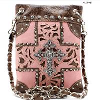 W77-2030-PINK-PEACH - WHOLESALE RHINESTONE CRYSTAL CELLPHONE CASES/POUCHES