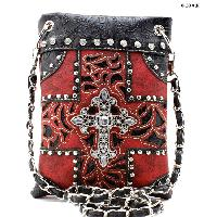 W77-2030-RED-BLACK - WHOLESALE RHINESTONE CRYSTAL CELLPHONE CASES/POUCHES
