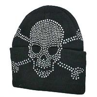 BEAN-SKULL-BLACK - WHOLESALE RHINESTONED BEANIES/CAPS