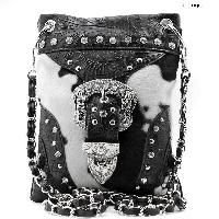 BKLE-76-COW-BLK-WT - WHOLESALE RHINESTONE CRYSTAL CELLPHONE CASES/POUCHES
